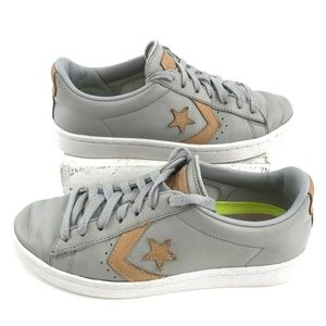 Converse All Stars Grey Leather Low Tops Sz 7